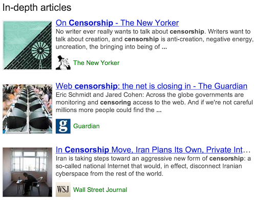 In-Depth Articles by Google