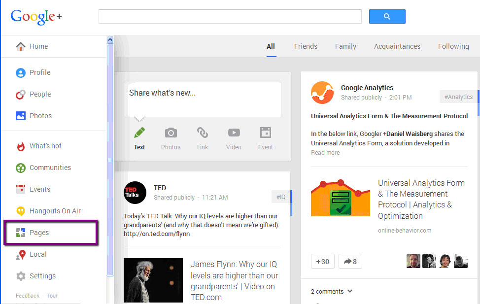 Use Google Plus as a Page