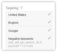 Targeting in Keyword Planner